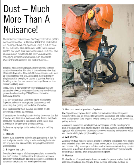 Dustcontrol UK in Roofing Todau Magazine